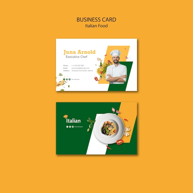 Italian food business card design Free Psd