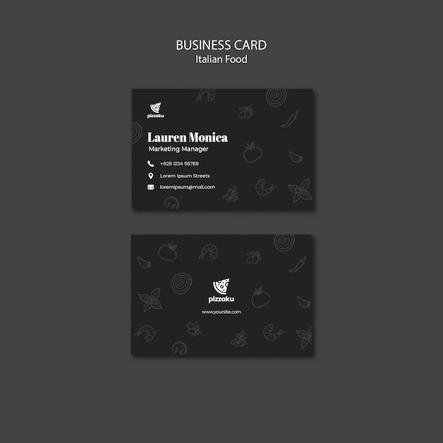 Italian food business card template theme Free Psd