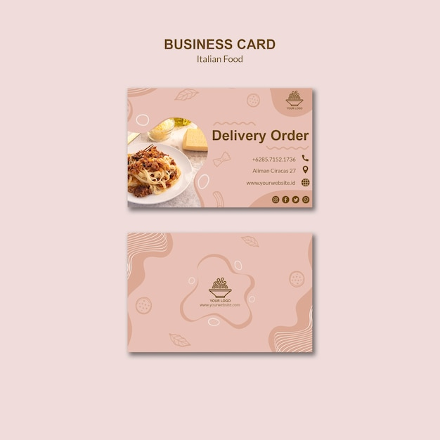 Italian food business card template Free Psd
