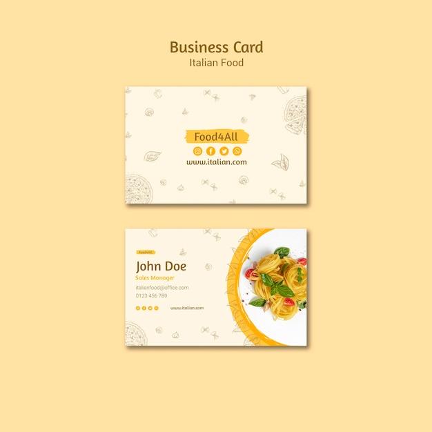 Italian food business card template Free Psd