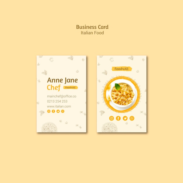 Italian food business card Free Psd