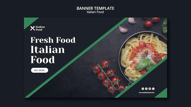 Italian food concept banner template Free Psd