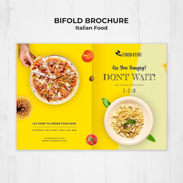 Italian food concept bifold brochure template Free Psd