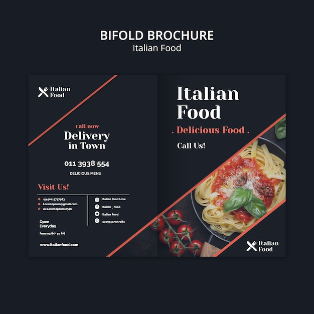 Italian food concept bifold brochure template Free Psd