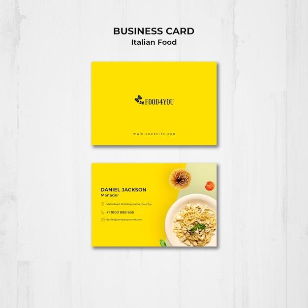 Italian food concept business card template Free Psd