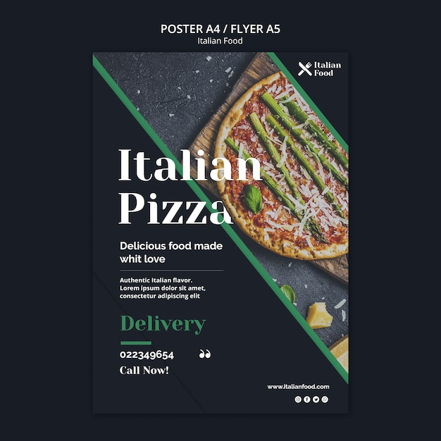 Italian food concept flyer template Free Psd