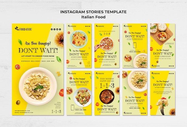 Italian food concept instagram stories template Free Psd