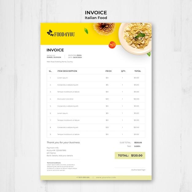 이탈리아 음식 개념 송장 서식 파일 무료 PSD 파일