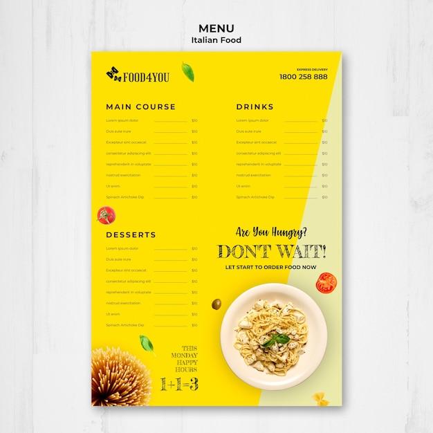 이탈리아 음식 개념 메뉴 템플릿 무료 PSD 파일