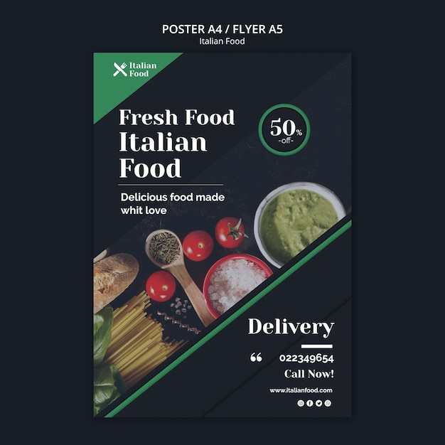 Italian food concept poster template Free Psd