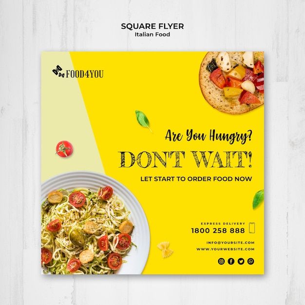 Italian food concept square flyer template Free Psd