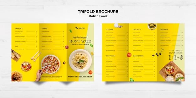 Italian food concept trifold brochure template Free Psd