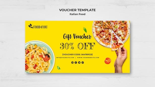 Italian food concept voucher template Free Psd