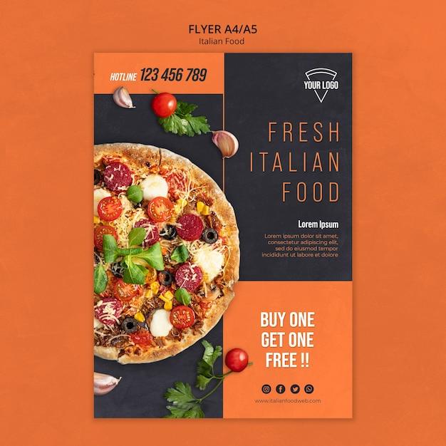 이탈리아 음식 전단지 디자인 무료 PSD 파일