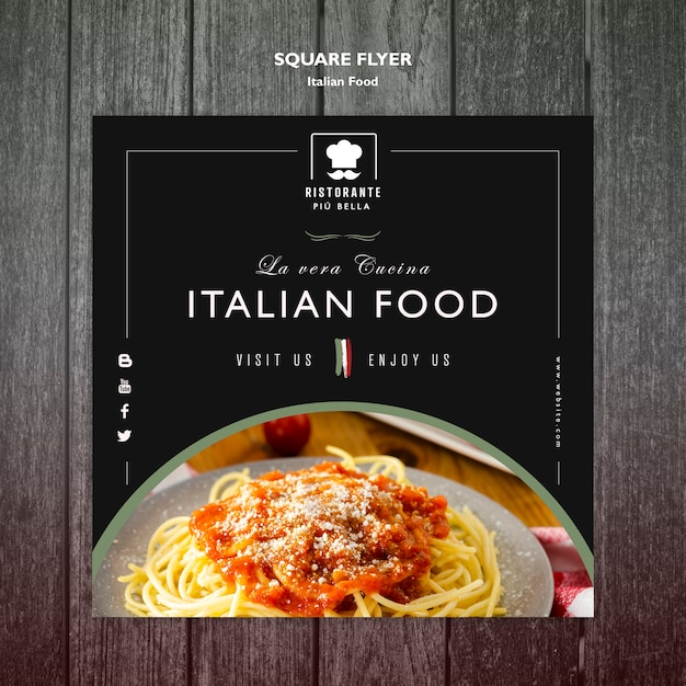 Italian food flyer template Free Psd