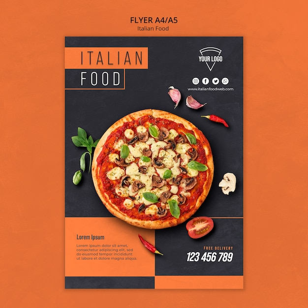 Italian food flyer template Free Psd