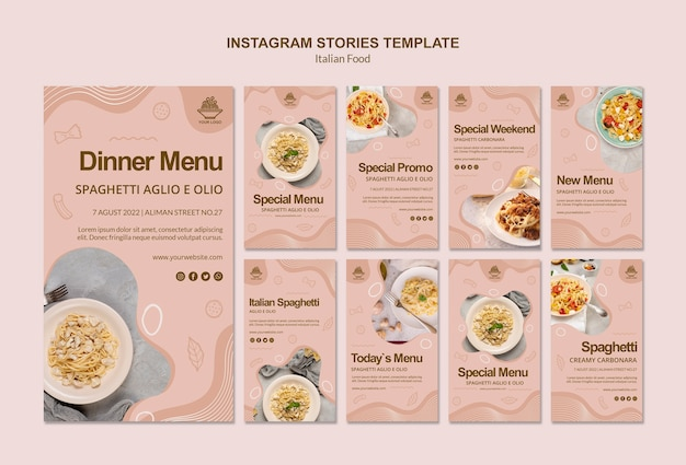 Italian food instagram stories template Free Psd