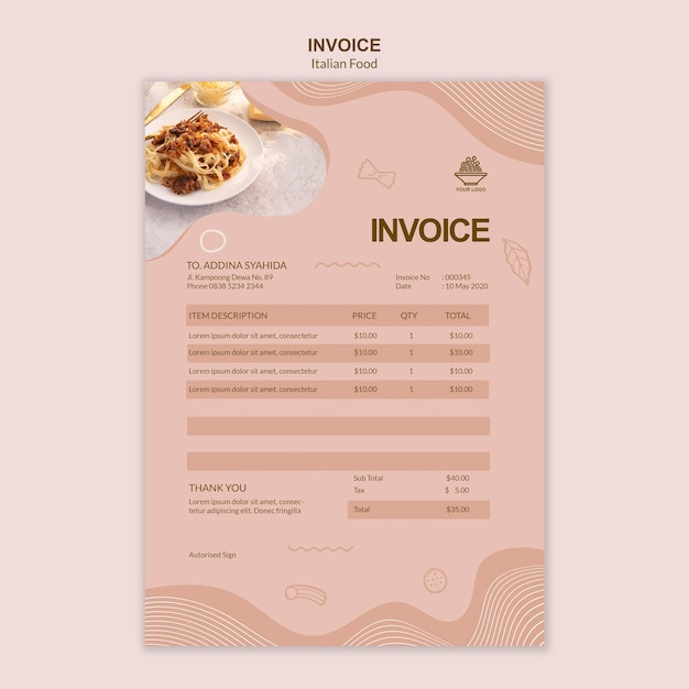 Italian food invoice template Free Psd