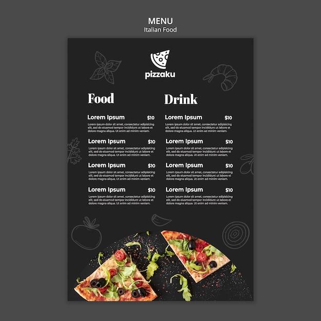 Italian food menu template Free Psd