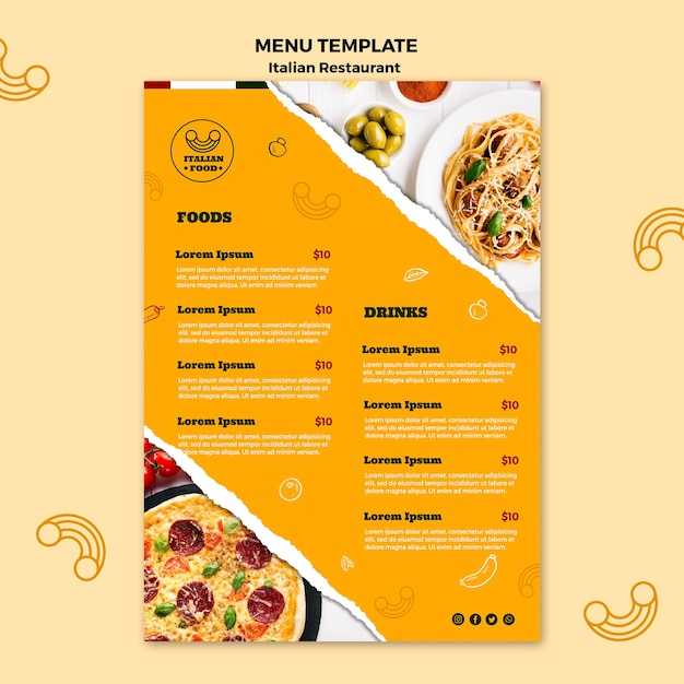 Italian food menu template Free Psd