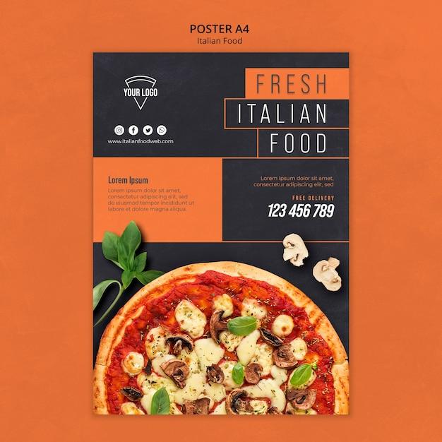 イタリア料理ポスターデザイン 無料 Psd