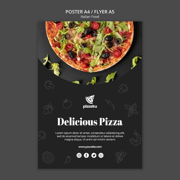 Italian food poster template design Free Psd