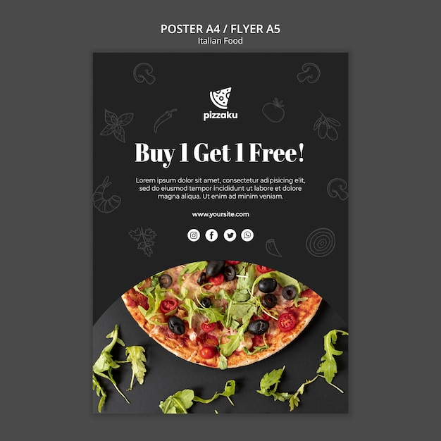 Italian food poster template theme Free Psd
