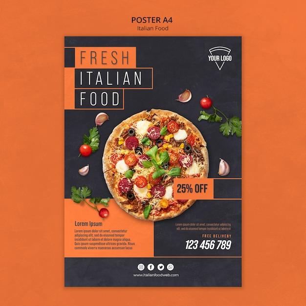 이탈리아 음식 포스터 무료 PSD 파일