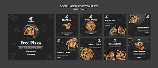 Шаблон поста в социальных сетях итальянской кухни Premium Psd
