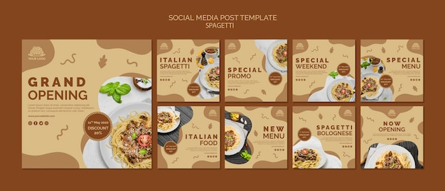 Italian food social media post template Free Psd