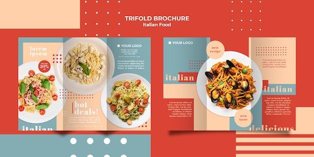 Italian food trifold brochure template Free Psd