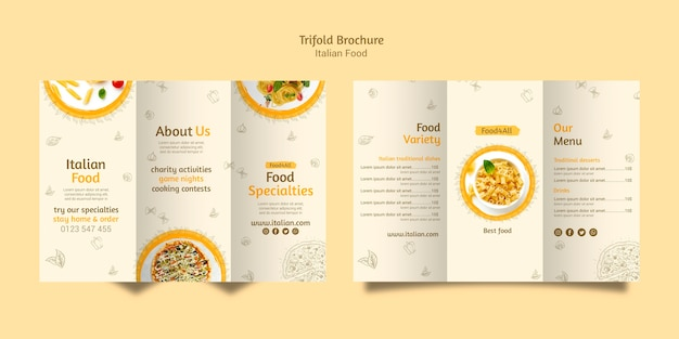Italian food trifold brochure Free Psd