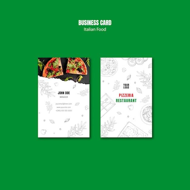 Italian food vertical business card template Free Psd