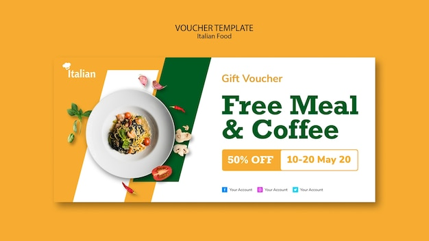 Italian food voucher template design Free Psd