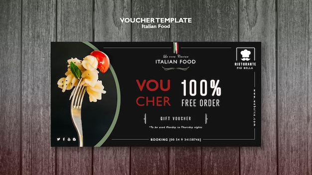 Italian food voucher template Free Psd
