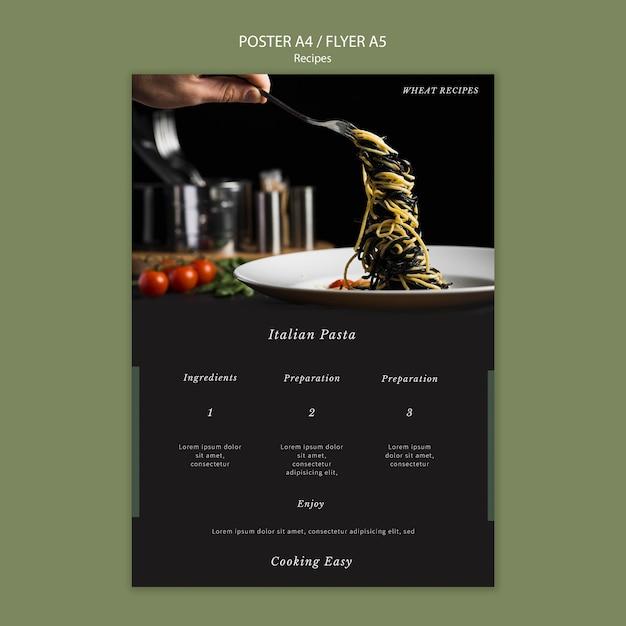 이탈리아 파스타 포스터 인쇄 템플릿 무료 PSD 파일
