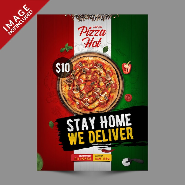 Italian pizza flyer template series Premium Psd
