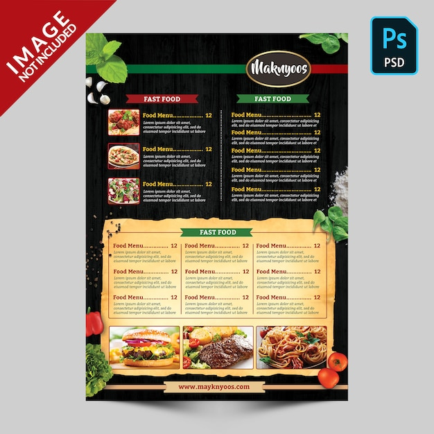Italian restaurant food menu back side template Premium Psd