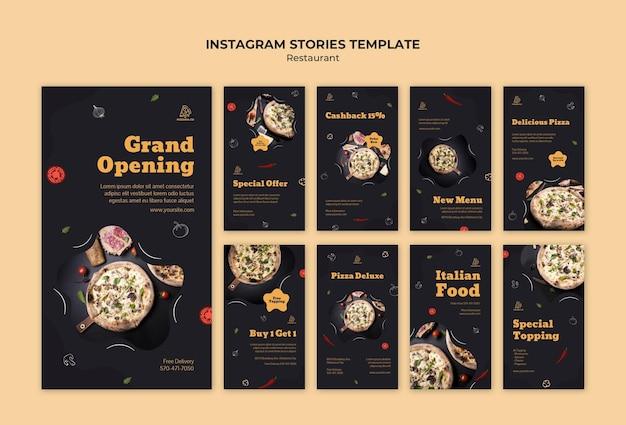 Italian restaurant instagram stories template Premium Psd