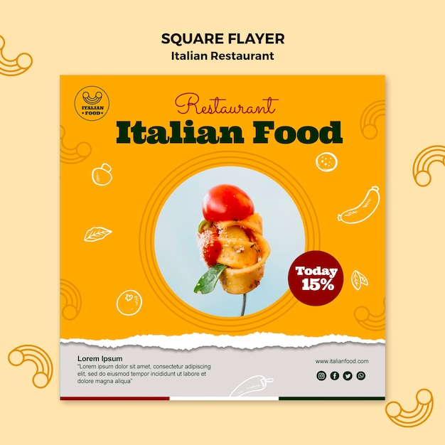 Italian restaurant square flyer with discount Free Psd