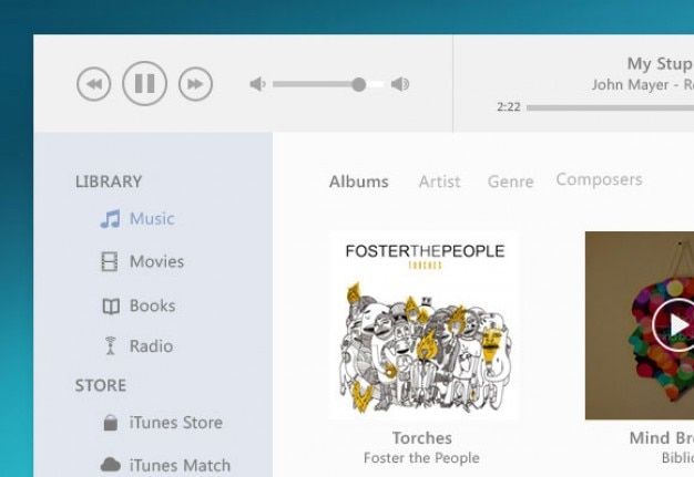 Itunes music player flat style PSD file | Free Download
