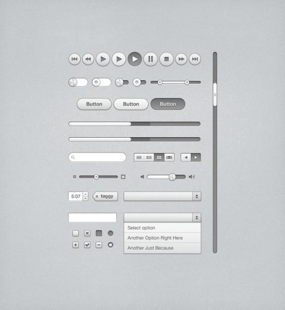 Itunesのための灰色のuiキット 無料 Psd