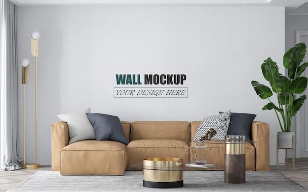 薄茶色のソファの壁のモックアップとリビングルーム Premium Psd