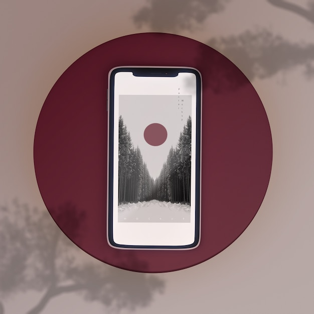 Japanese scene phone shadows mockup Free Psd