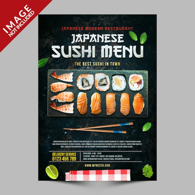 Japanese sushi menu poster template Premium Psd