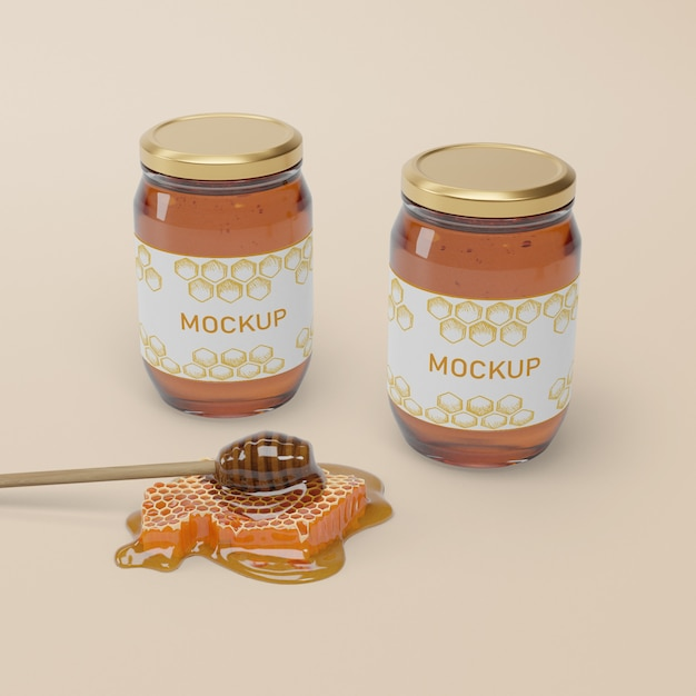 Jar collection with natural honey Free Psd