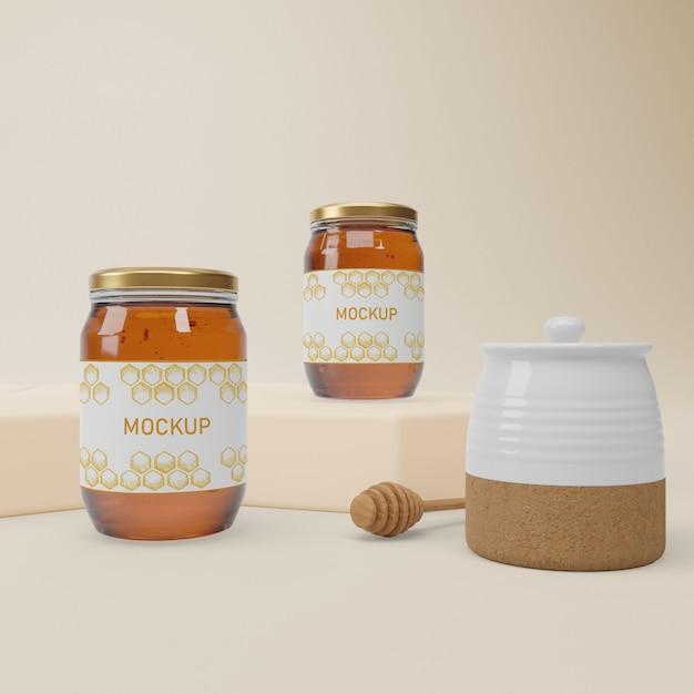 Jar collection with organic honey Premium Psd
