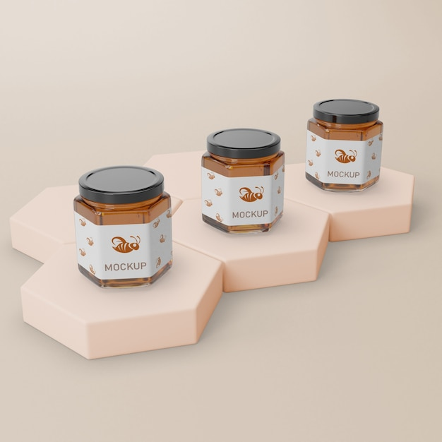 Jar container with honey mock-up Free Psd