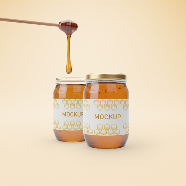 Jars with delicious honey mock-up Premium Psd