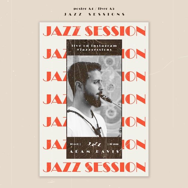 Modello di volantino del concetto di jazz Psd Gratuite